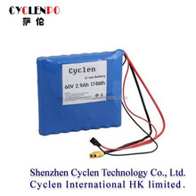 Lithium battery 60v 2.9ah li-ion battery pack 60v 2.9ah rechargeable battery with tabs