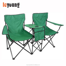 Steel Frame Loveseat Style Double Camp Chair with Table/Cup holder