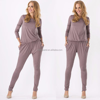 In stock wholesale women sprint set soft fabric plain 2 pcs suit