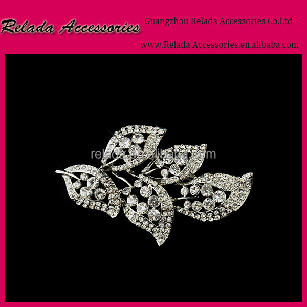 Wholesale-fashion women brooch pin leaf shape crystal brooch platinum plated RLD2454RB