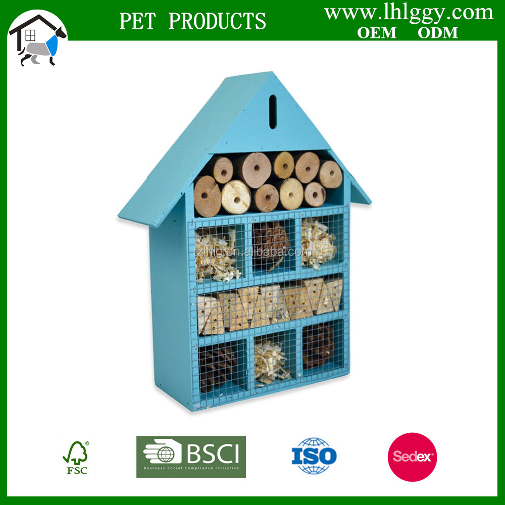 china factory sale FSC wildlife color Wooden wild garden Mason Bee insect house