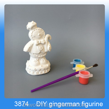 Decorative white diy craft for children with gingerman shape