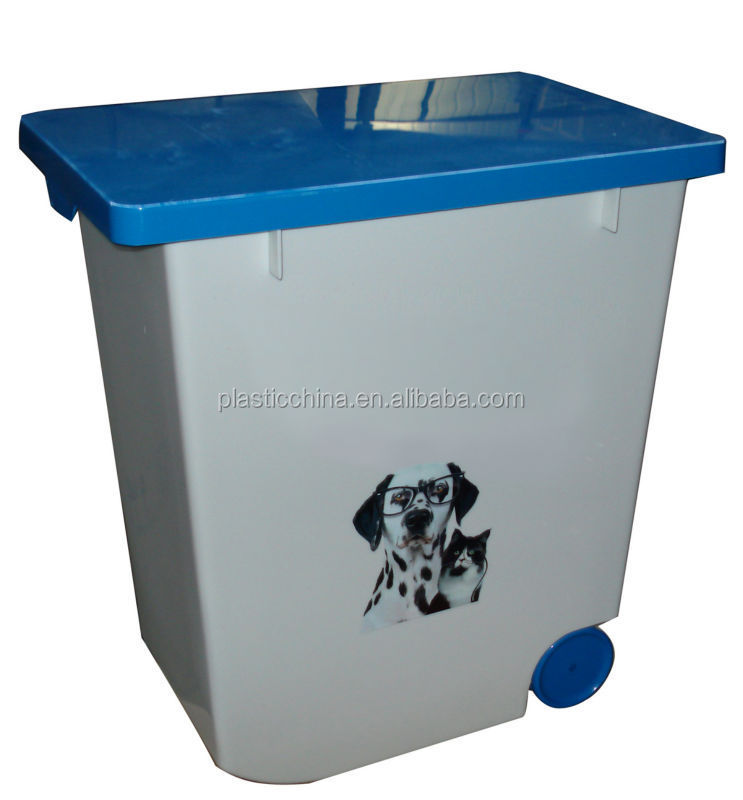 20L 12kg pet food container/ plastic storage box with wheels