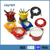 Multicolor Enameled cast Iron set for fondue