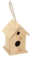 wooden small house shape pet bird house made from natural wood
