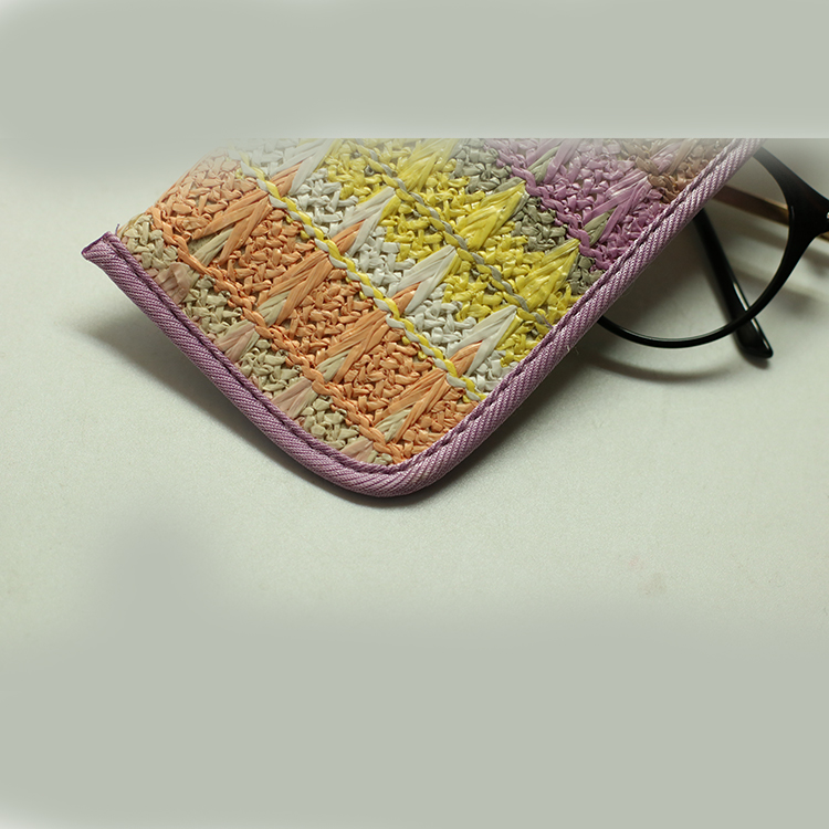 Special design wholesale custom color and logo environmentally friendly PP grass weave eyeglasses cases glasses pouch