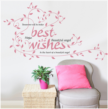 Pink Color Best Regards Greetings Wall Sticker Home Decorations Xmas Festival Flowers Vinyl Removable Branch Sticker