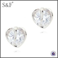 Latest Design Popular Zircon white stone stud earrings