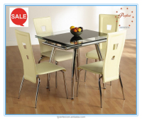 Simple high quality extendable chormed glass table for dining room