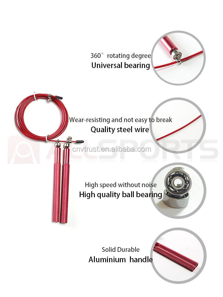Aluminum handle design patented adjustable Cross training speed jump rope with 360 rotating ball bearing