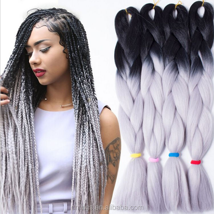 ( 8 packs Black + Light Grey ) STOCK Synthetic 2 tone ombre color jumbo braiding <strong>hair</strong> for dreadlocks