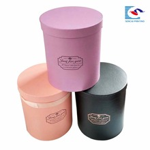 Luxury custom logo cardboard stamping round flower box with lid