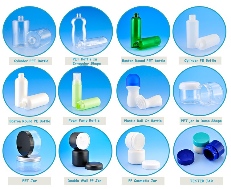 Cosmetic packaging for personal skin care cream PET or PE plastic bottle