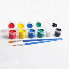Hot sale 3ml 6colors acrylic <strong>paint</strong> pots strip acrylic <strong>paint</strong> for kids with 2 brushes