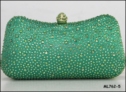 High-level rhinestones bag green color evening bags in Nigeria party ML762-5