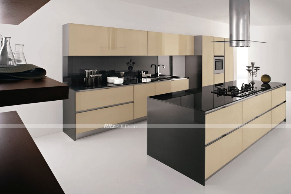 PVC thermoform white high gloss kitchen cabinets