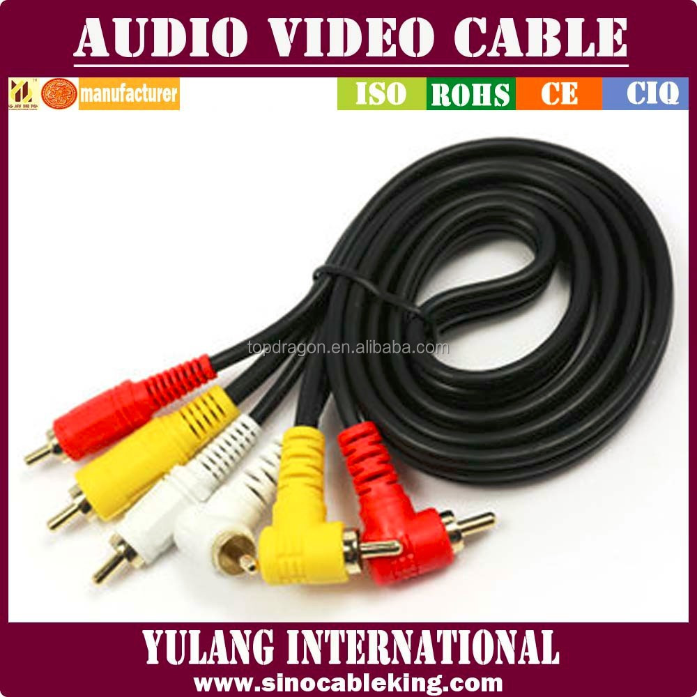 Factory Price l Shape RCA Audio Video Cable for Brazil