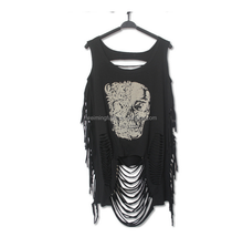 Newest Women Cotton Individuality Printing Tassel Vest Hole Backless Sexy Tassel Vest
