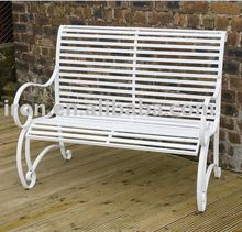 white tubular steel bench