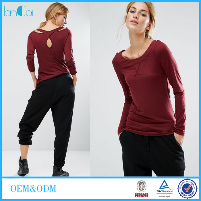 OEM Service New Arrival T-shirt for Women with Cross-back strap detail LC7059-G