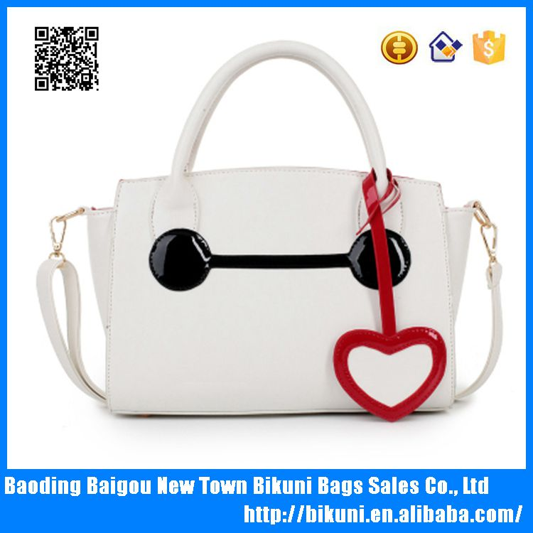 Hot sale popular cute smile face cartoon pu bags tote cheap women's bag for girls