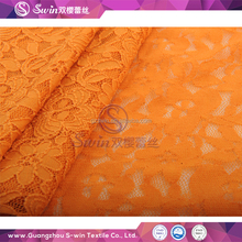 Fashion 2017 cute wide stretch lace flowers white cotton fabric orange lace embroidery fabric