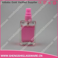 40ml glass perfume bottle printing machin /green square empty car glass perfume bottles