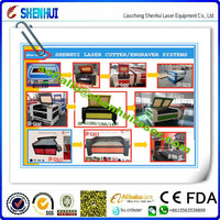 1618/2513/1610/1410 shoe leather/clothing laser cutting machine /laser eqipment company looking for agent 130w/150w