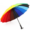 Chinese Factory Promotions 190T Polyester Rainbow Color 16 Ribs Straight Umbrella
