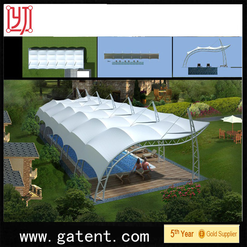 China factory PVDF Cover Q235 Steel cheap folding ez up sublimated tent Guarantee year 10years permanent structure