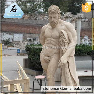 Outdoor natural stone carving carrara marble nude male angel sculptures