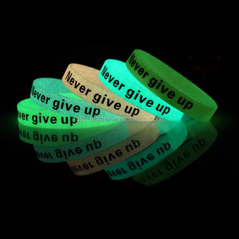 silicone bracelet glow in the dark wristband