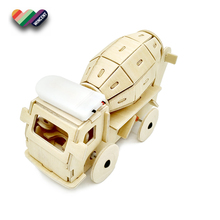 Solar Powered Running Cementing Truck Wooden 3D Puzzle Toy