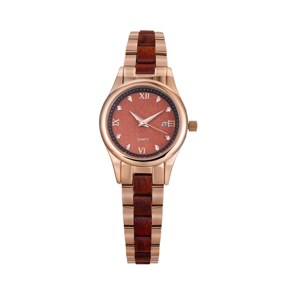 Customized Top Branded Stainless Steel Wood Women Watch