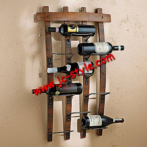 Contemporary metal hooks red wine bottles display rack/decorative wall-mounted OAK whiskey shelf liquor holder/wine display rack