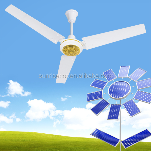 2017 New factory design solar fan DC motor 12V ceiling fan