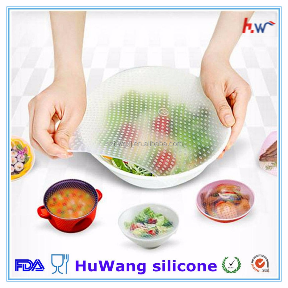 Wholesale transparent food grade silicone stretch fresh cover