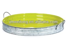 Large Round Galvanized Tin Serving Tray - Neon