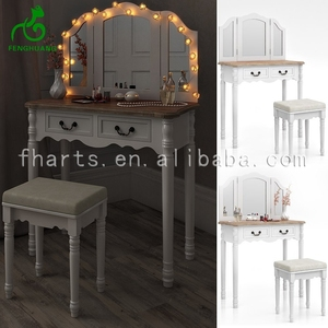 French Big White Led Hotel Dressing Table