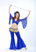 BestDance New Belly Dance Dancing 2 pics Costume Lace Top & Sequins Trousers Pants Skirt Yoga Costume Wear OEM