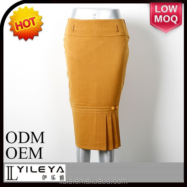 New design Hot selling medium length kintting narrow girls in office skirt