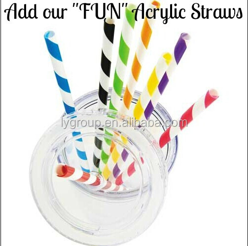 freen and white Striped Plastic Straw Stripe Hard Plastic Acrylic BPA Free Colored Acrylic reusable straws