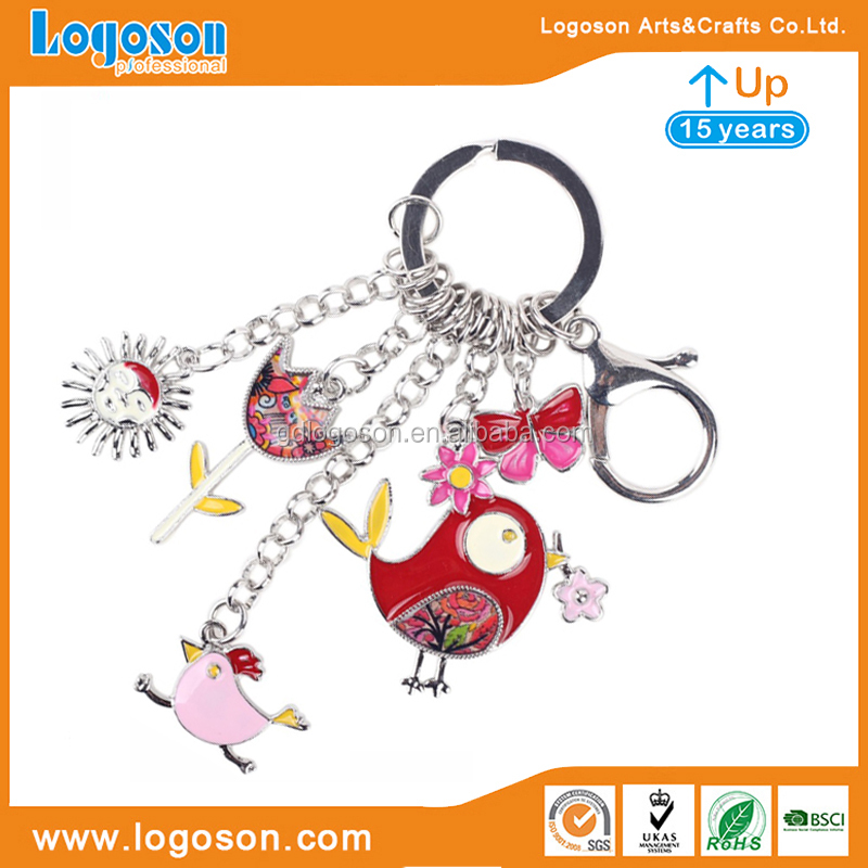Various Designs Personalized Gift Metal Enamel Craft Swallow Shaped Keychain Bird Keyring