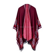 Women's Color Block Open front Blanket Poncho
