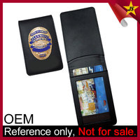wholesale strong engraved leather military badge wallet
