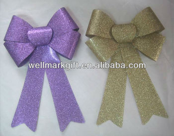 9 inch Gold PVC Christmas Holiday Ribbon Glitter Bow