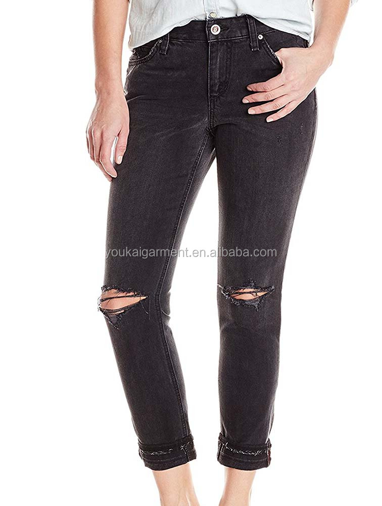 Women's Black Boyfriend Jeans Ripped Ripped Jeans Women Legging Ankle Lenght Jeans Sexy