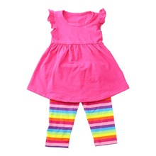 2018 cotton toddler clothing plain lap dress rainbow pants boutique girl baby clothing