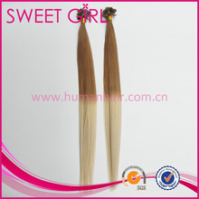 ombre color virgin hair keratin flat tip hair extension two tone colored Indian remy hair