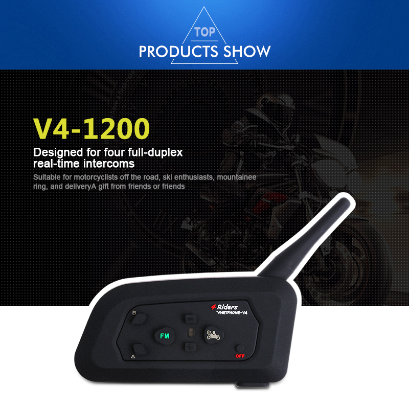 1200m V4 Motorcycle Helmet Headset Intercom 4 Riders Talk at The Same Time